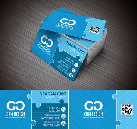 Vector illustration of business card made of puzzle. Illustration