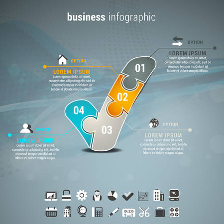 business process: Vector illustration of business infographic with check mark made of puzzle.