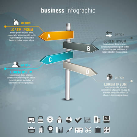 Vector illustration of business infographic with direction signs.