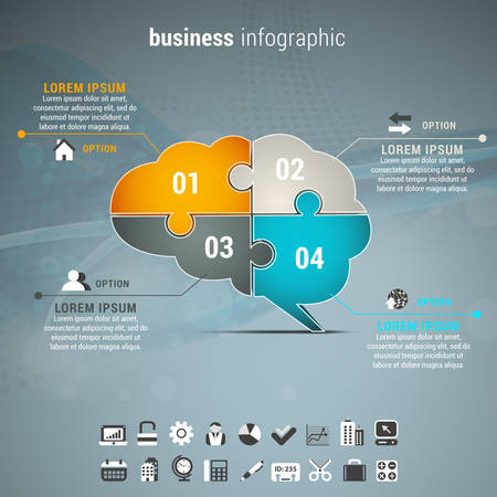 advertising template: Vector illustration of business infographic with brain made of puzzle.