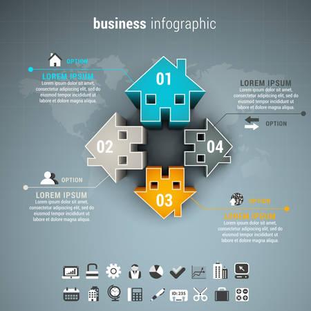 Vector illustration of business infographic made of houses. Ilustração