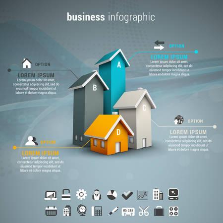 Vector illustratie van de zakelijke infographic gemaakt van huizen. Stockfoto - 45946847