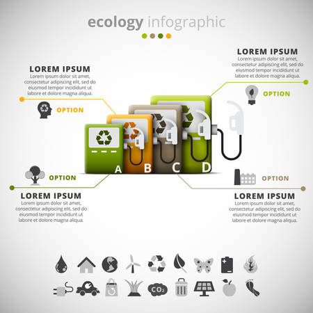 fuel pumps: Vector illustration of ecology infographic made of fuel pumps.