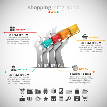 green card: Vector illustration of shopping infographic made of hands and credit cards.