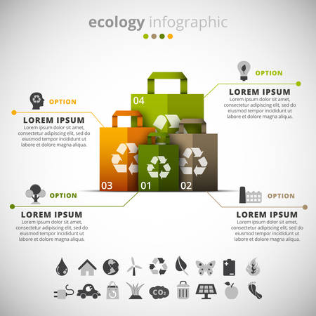 energies: Vector illustration of ecology infographic made of paper bags.