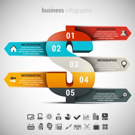 signo pesos: Ilustración del vector de infografía negocio hecho de signo de dólar.