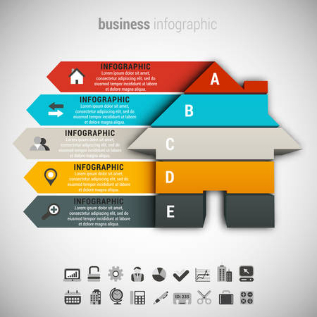 Vector illustratie van de zakelijke infographic gemaakt van huis. Stock Illustratie