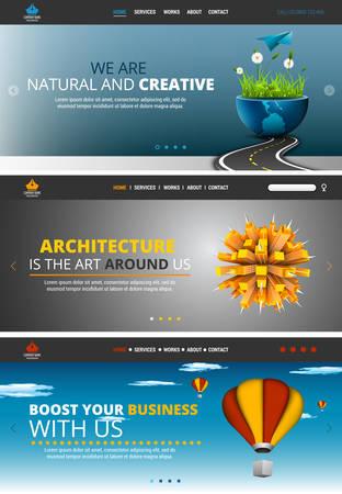 web site: Vector illustration of website header sliders. Illustration