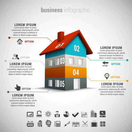 ビジネス インフォ グラフィックのベクター イラストは家から成っています。