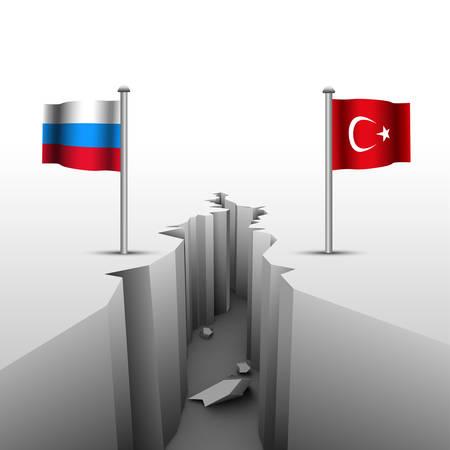 bandera rusia: crisis nacional entre Rusia y Turquía. Ilustración del vector. Vectores