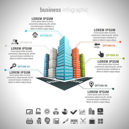 business: Illustrazione vettoriale di infografica attività fatta di edifici.
