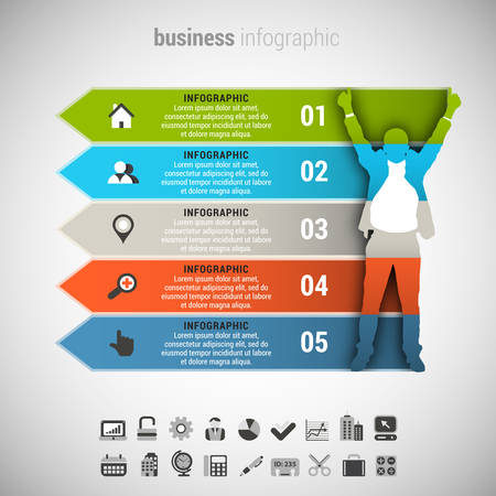 idea icon: Vector illustration of business infographic made of businessman.