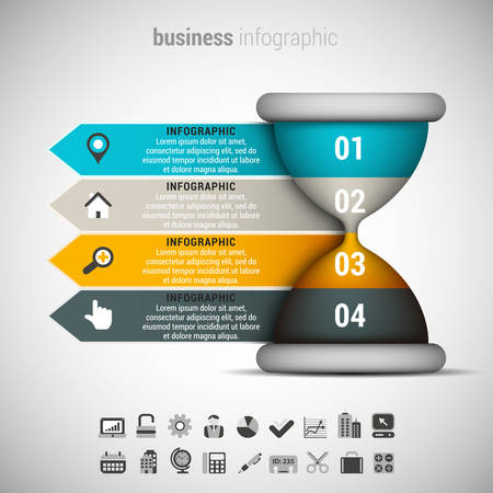 reloj de arena: Ilustración del vector de infografía negocio hace de reloj de arena.