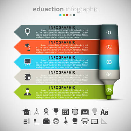 felt: Vector illustration of education infographic made of felt pen. Illustration