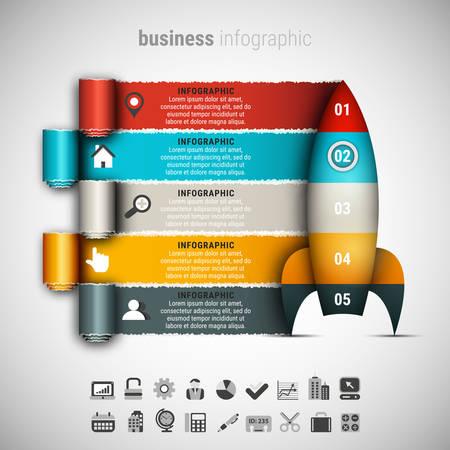 diagrama procesos: ilustración de información de la empresa gráfica hecha de cohetes. Vectores