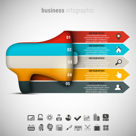 illustration of business info graphic made of speakerphone.