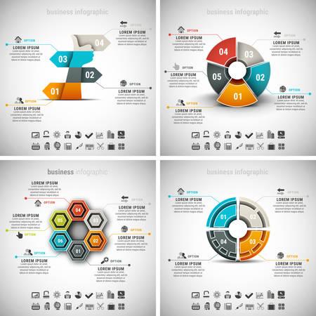 diagrama de procesos: Conjunto del vector de infografía de negocio. Vol.33.