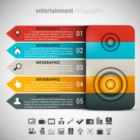 hablante: Vector illustration of entertainment infographic made of speaker. Vectores