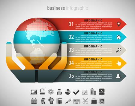 Creative Business-Infografik mit Globus und Hände. Vektor-Illustration.