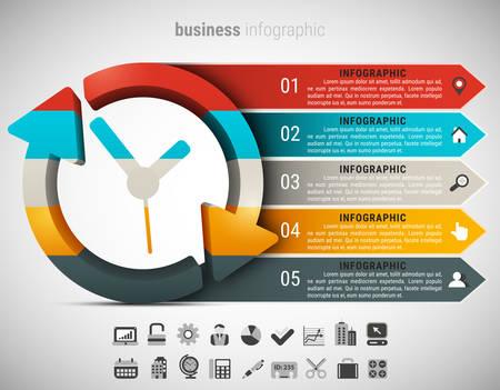 創造的なビジネスのインフォ グラフィックは時計から成っています。ベクトルの図。