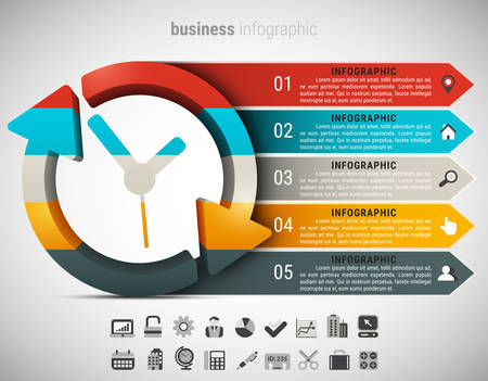 Creative business infographic made of clock. Vector illustration. Vectores