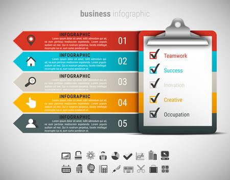 チェックリスト表のビジネス インフォ グラフィックのベクター イラストです。  イラスト・ベクター素材