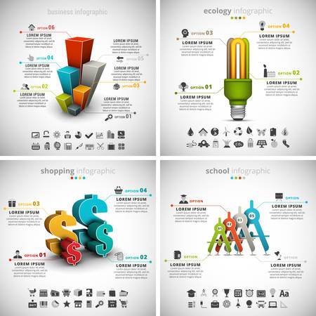 od: Vector set od different infographics. Business, Ecology, Shopping and School themes. There are 90 unique icons. Well layered and organized.Vol 36.
