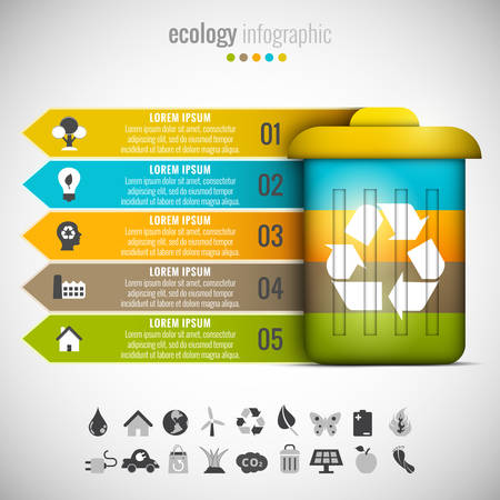 trash can: Vector illustration of ecology infographic made of trash can. Illustration