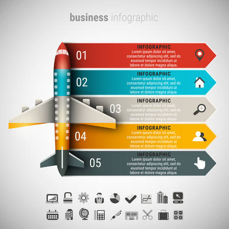 Vector illustration of business infographic made of airplane.