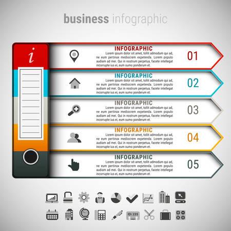illustraton: Vector illustraton of business infographic made of file folder.
