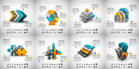 creative design: Vector set of different business infographics.