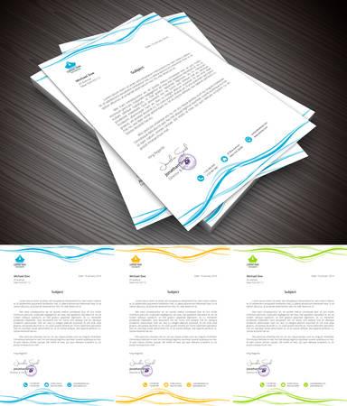 hojas membretadas: Este es el membrete simple y creativa para usos comerciales y de uso personal. Ilustración del vector.