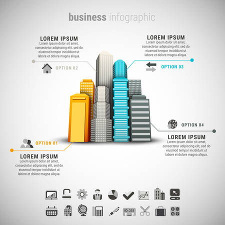 od: Vector illustration of business infographic made od buildings.