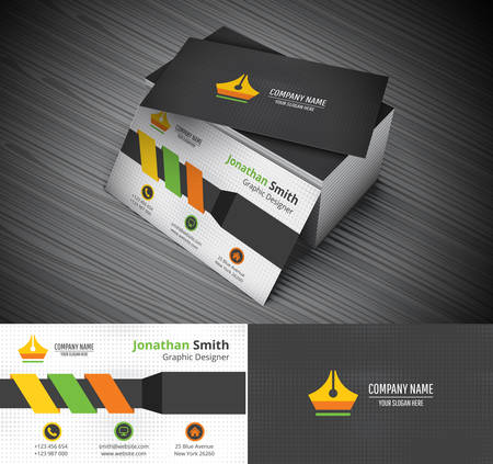 business card template: Vector illustration of business card.
