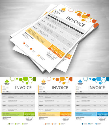 Vector illustration of invoice in 3 colors.