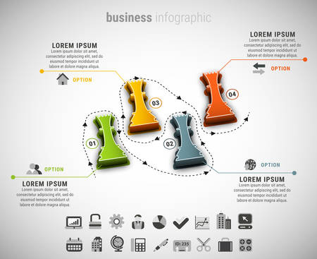 chessman: Vector illustration of business infographic made of chessman, Illustration