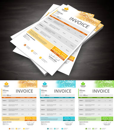 organized: This is simple and creative invoice. Well organized and layered. Easy to edit. illustration.