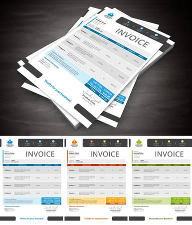 Esta es la factura simple y creativo. Bien organizado y en capas. Fácil de editar. ilustración. Foto de archivo - 53862577