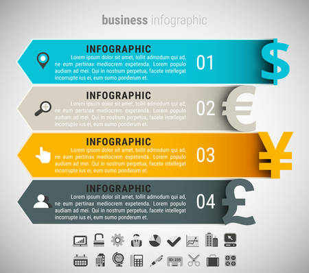 currencies: Vector illustration of business infographic made of currencies.