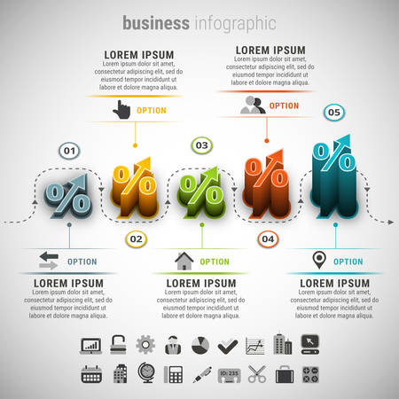 adjust: illustration of business infographic. Created with blend. Easy to adjust the height for each element. Illustration
