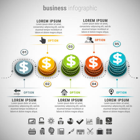 illustration of business infographic made of coins.