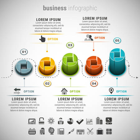 adjust: illustration of business infographic.Created with blend. Easy to adjust the height for each element.
