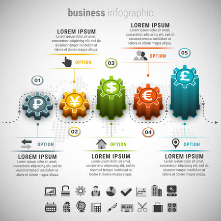 currencies: illustration of business infographic made of gears and currencies.