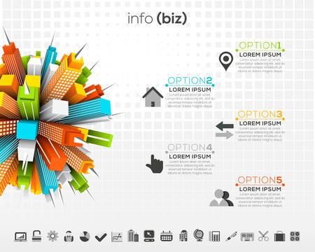 Vector illustration of creative business infographic made of buildings. Ilustração