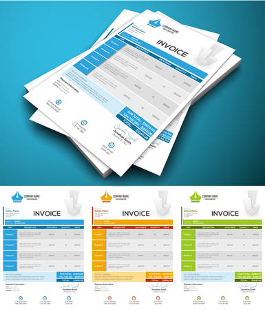 invoices: illustration of creative invoice template.