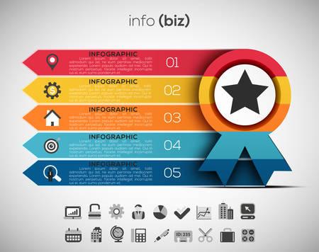 od: Vector illustration od business infographic made of medal.