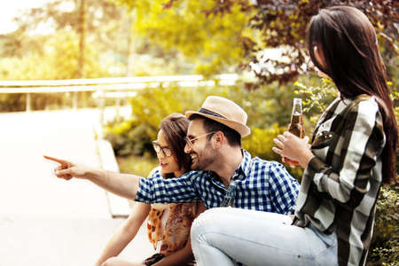 Group of young people having fun. Stock Photo