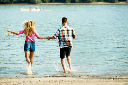 Happy couple on the Danube river.