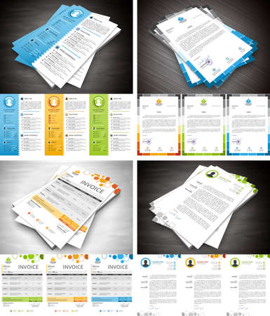 Vector set of different stationery elements. Letterhead, invoice, cover letter and resume in bundle. Imagens