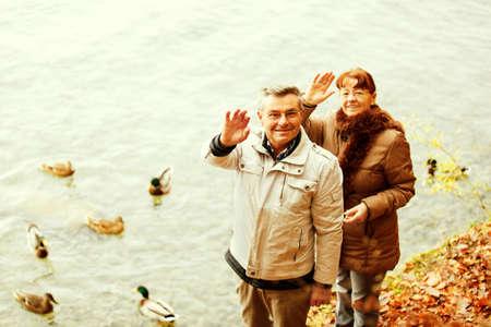 village man: Happy senior couple feeding ducks on Thuns Lake Switzerland.